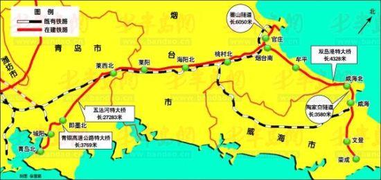 铁路位于胶东半岛,连接青岛,烟台,威海三个主要城市,是构建半岛城市群