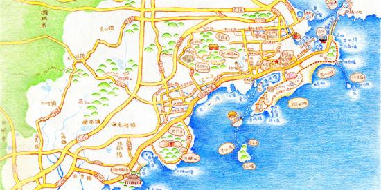黄岛区旅游手绘地图